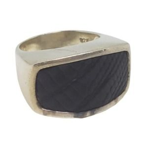 Vintage Silver Black Leather Ring Size 7.25